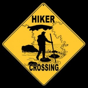 Hiker Crossing Sign